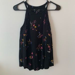 Black with flowers tank top